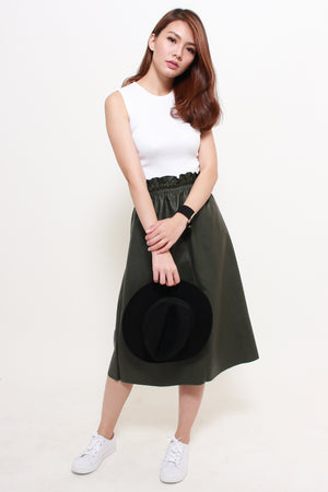 Sorra Paperbag Leather Skirt In Olive