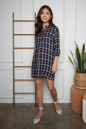 *TSA Label* Mathilda Checkered Shirt Dress In Navy