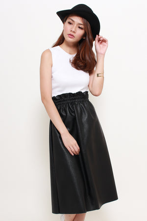 Sorra Paperbag Leather Skirt In Black