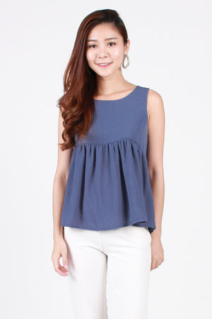 Carrie Tie-Back Top In Blue