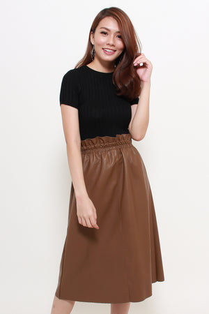 Sorra Paperbag Leather Skirt In Camel