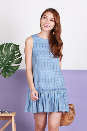 Ellie Ruffled Drophem Dress In Blue