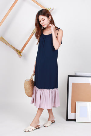 *TSA Label* Angeles Colourblock Swing Maxi Dress In Navy/Pink