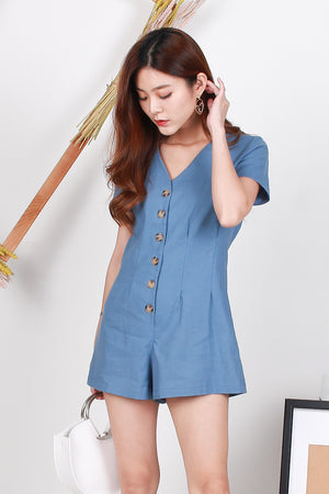 Mira Button Front Romper In Blue
