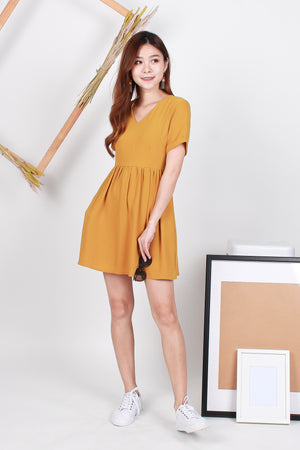 Zyra Babydoll Dress In Honey Yellow