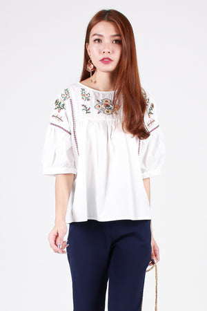 Amira Embroidered Blouse In White