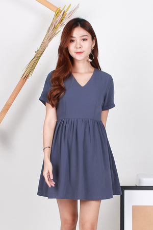 Zyra Babydoll Dress In Periwinkle Blue
