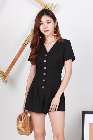Mira Button Front Romper In Black