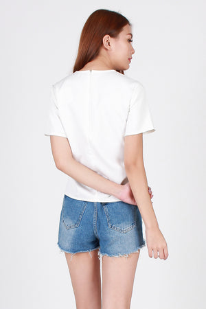 Fayth Lace-Up Top In White
