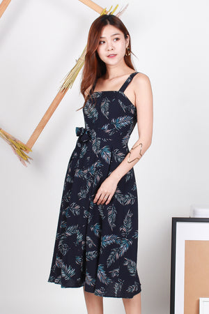Taylor Foliage Button Midi Dress In Navy