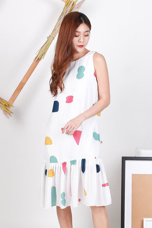 Vera Shapes Drop Hem Midi Dress In White