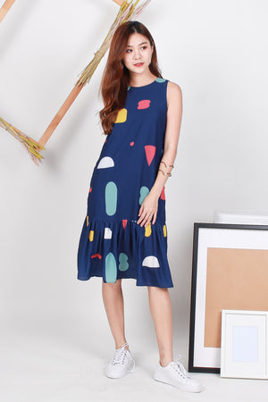 *RESTOCK* Vera Shapes Drop Hem Midi Dress In Navy