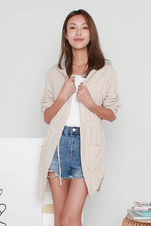 *BACKORDER* Cambrie Hoodie Cardigan In Oat