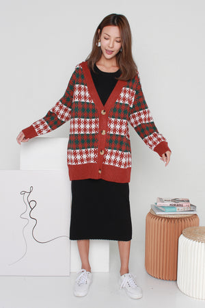 Yuletide Knit Cardigan In Rust