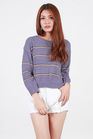 Ellwood Striped Knit Top In Lavender