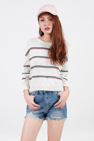Ellwood Striped Knit Top In White