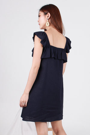 Mya Ruffled Dress In Navy