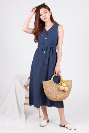 *RESTOCK* *Premium* Paddie Linen Tank Dress In Blue