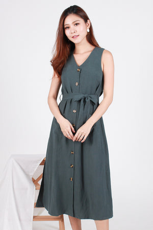 *RESTOCK* *Premium* Paddie Linen Tank Dress In Green