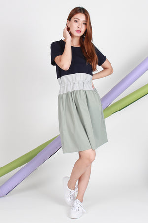 Lorene Colourblock Dress In Navy/Mint