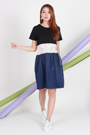 Lorene Colourblock Dress In Black/Blue