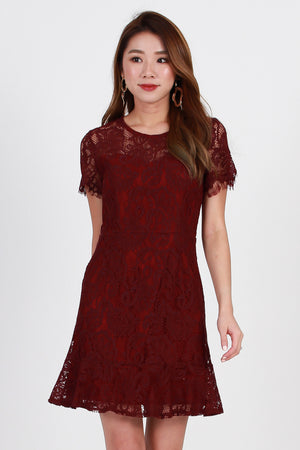 *Premium* Hera Lace Dress In Burgundy