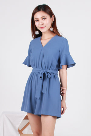 *TSA Label* Nadine Sleeved Romper In Powder Blue