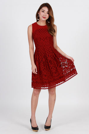 *Premium* Spring-Of-Odyssey Lace Dress In Wine