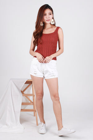 Olayne Knit Top In Terracotta