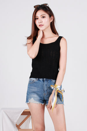 Olayne Knit Top In Black