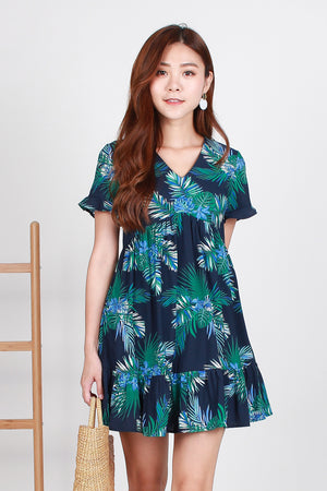 *TSA Label* Summer Paradise Babydoll Dress In Navy
