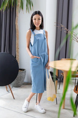 *BACKORDER* Brandi Dungaree Midi In Blue