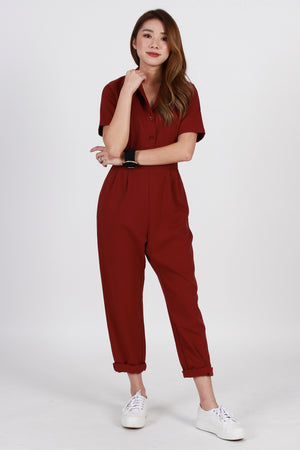 *TSA Label* Hudson Collared Jumpsuit In Wine