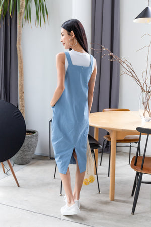 *RESTOCK* Brandi Dungaree Midi In Blue