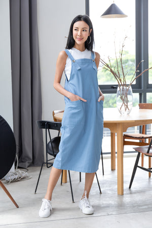 Brandi Dungaree Midi In Blue