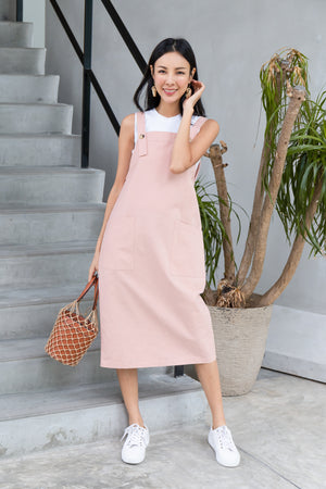 Brandi Dungaree Midi In Pink