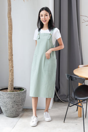 Brandi Dungaree Midi In Sage