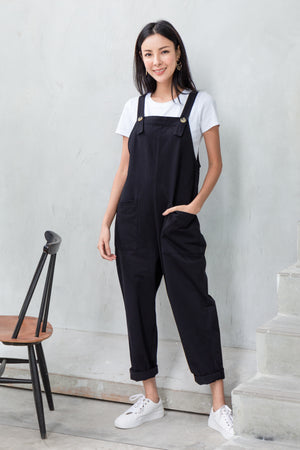 *BACKORDER* Bayson Peg Leg Dungaree In Black