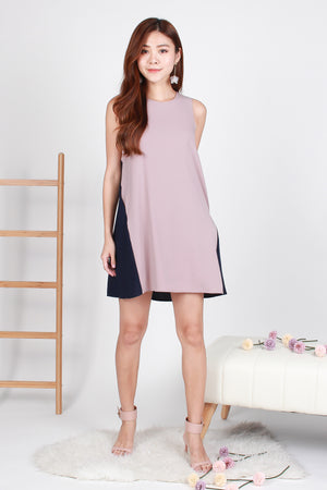 Maryl Colourblock Trapeze Dress In Pink Navy