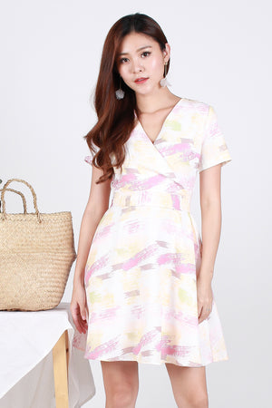 Carmine Brushstrokes Wrap Front Dress In White