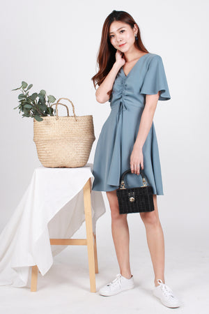 Carter Ruch-Front Swing Dress In Blue