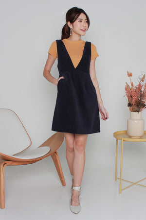 Cayson Corduroy Pinafore Dress In Navy