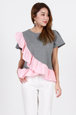 Kinsel Frilly Top In Pink