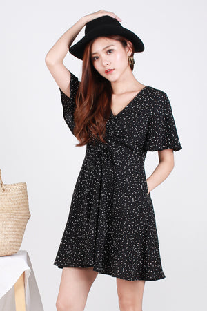 Carter Dotted Ruch-Front Swing Dress In Black