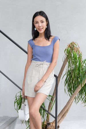 Eltha Square Neck Knit Top In Blue