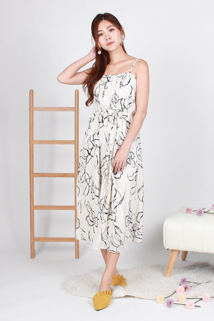 Imelda Abstract Maxi Dress In Off-White