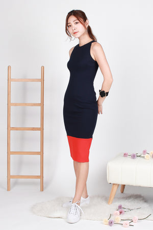 Zandra Bodycon Colourblock Midi In Navy Coral