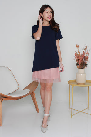 *TSA Label* Pauletta Tulle Hem Dress In Navy