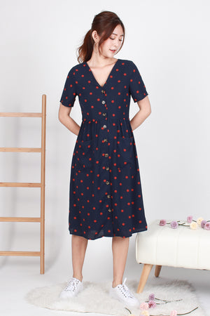 *TSA Label* Florrie Dotted Button Midi Dress In Navy