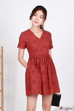 Parisian Eyelet Dress In Brick